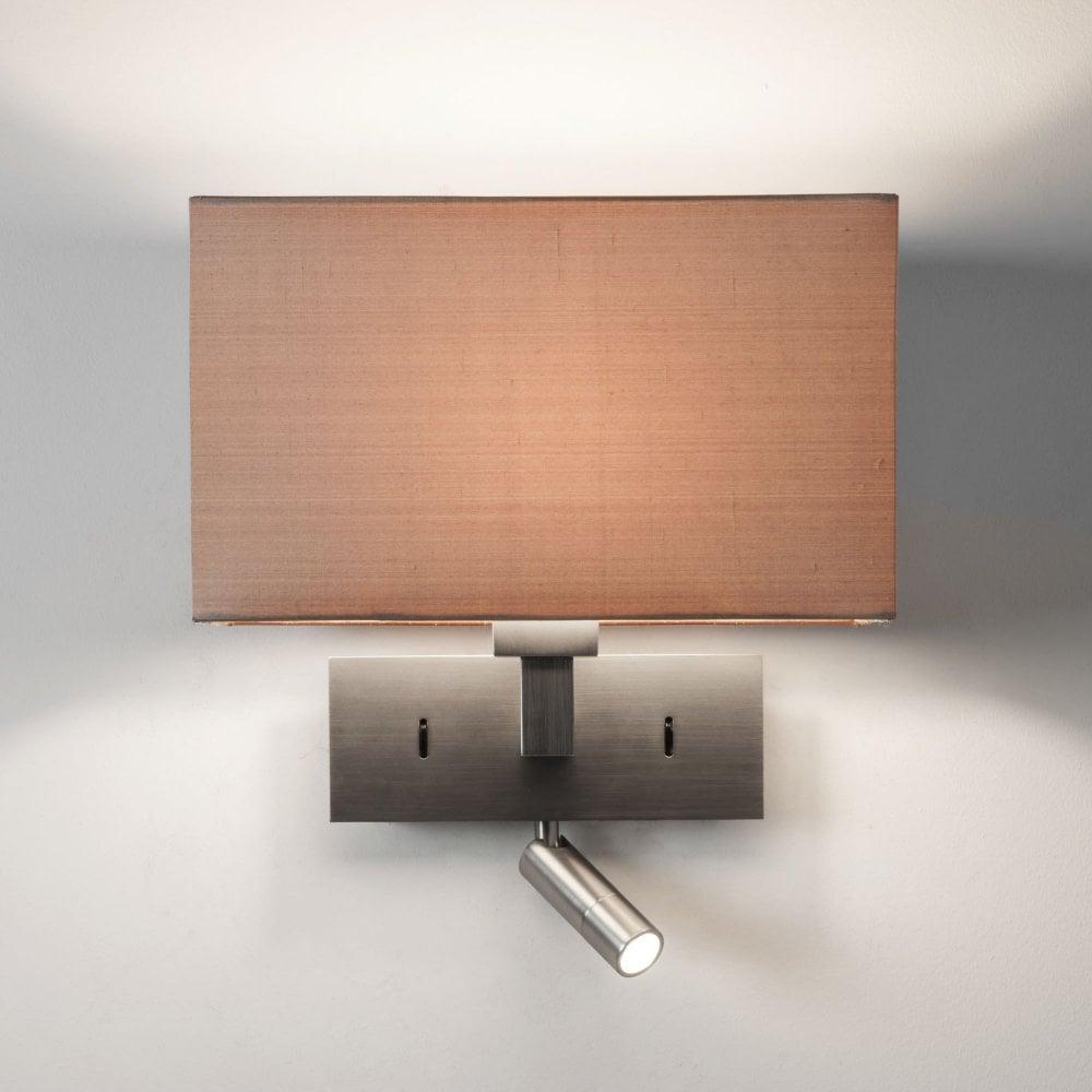 Park Lane Modern Matt Nickel Bedroom Wall Light With Led Reading Spotlight