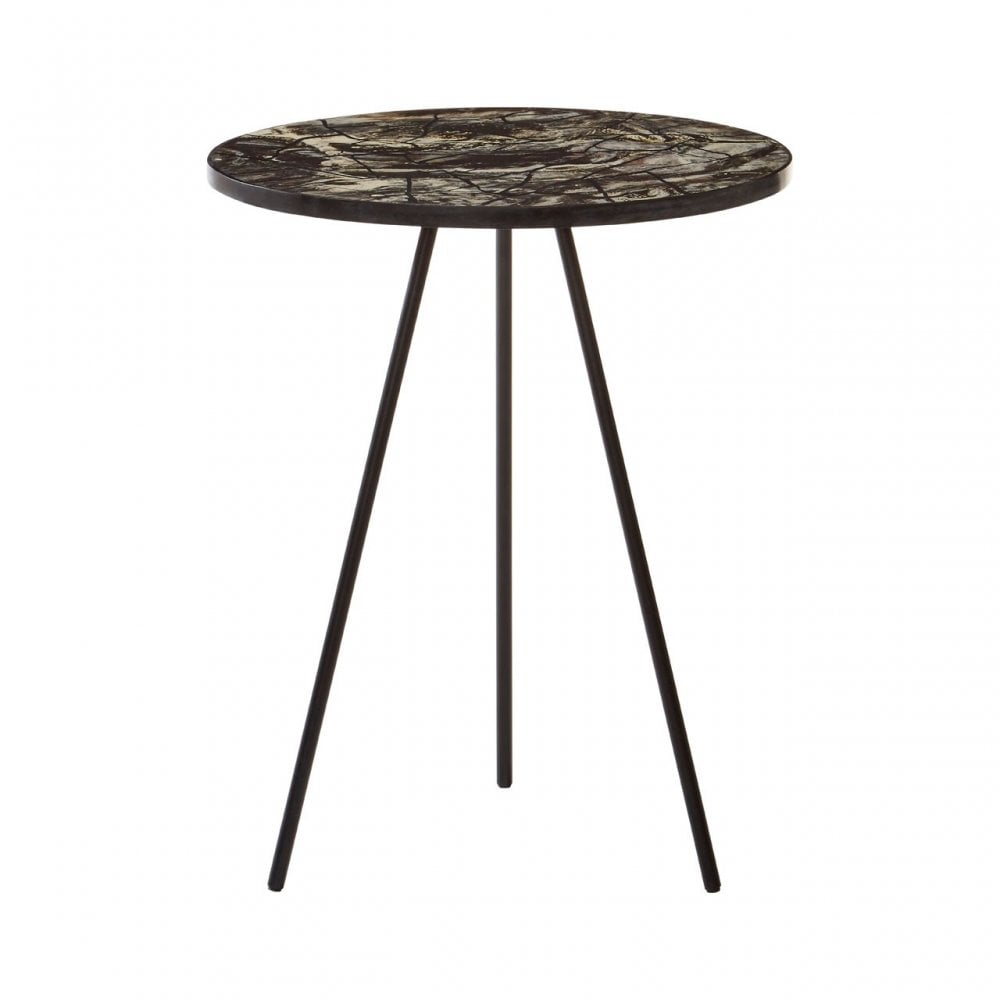 Aliso Side Table With Tri Leg Base Iron Resin Multi