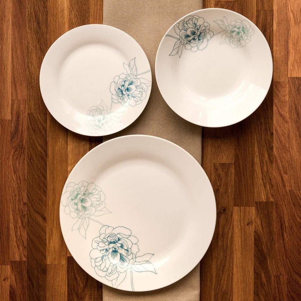 Teal Premier Housewares Avie Flora 12-Piece Dinner Set