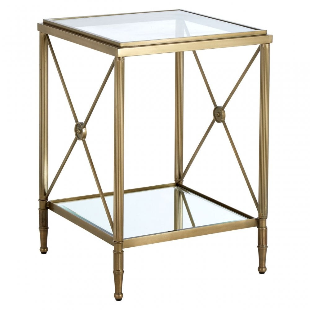 best authentic b1f0b 8195a Clanbay Axis Square Side Table, Aluminium, Brass, Glass, Iron, Mirrored  Glass, Stainless Steel, Brass