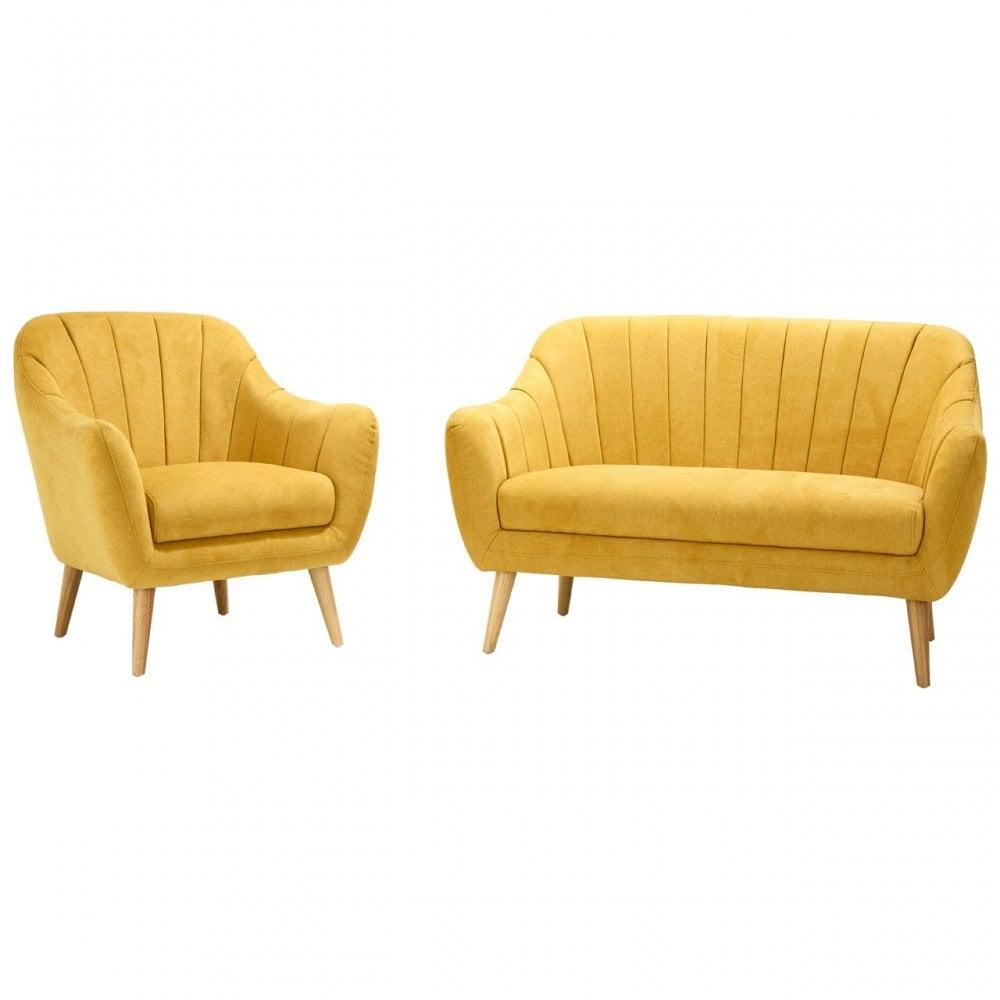 Clanbay Bergal 2 Seater Modern Sofa Chenille, Yellow