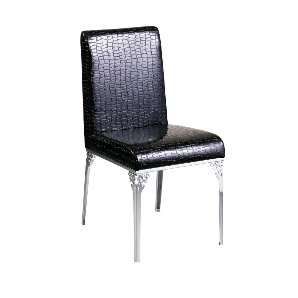 Terrific Clanbay Black Crocodile Leather Effect Chair Leather Effect Black Creativecarmelina Interior Chair Design Creativecarmelinacom