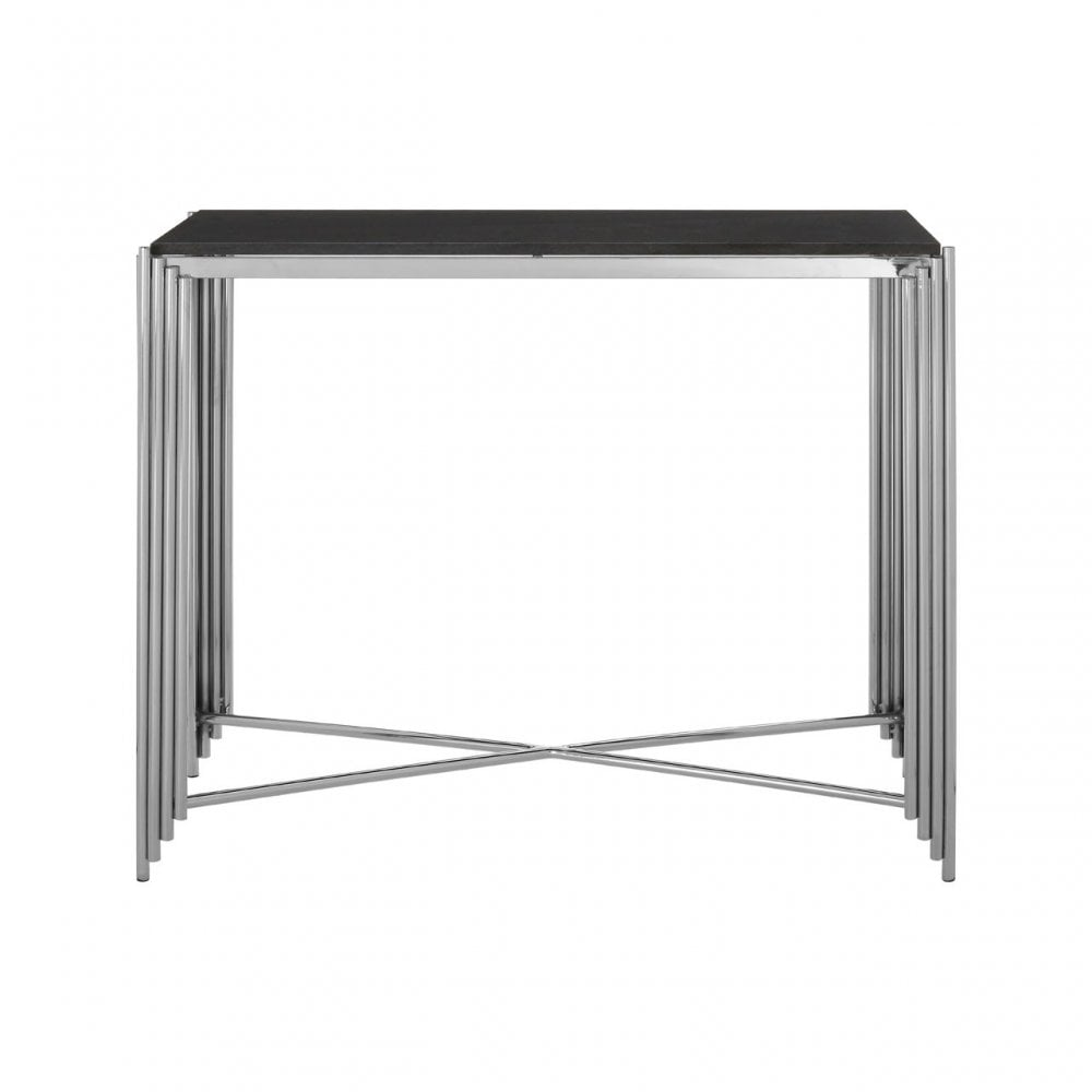 Clanbay Clarice Console Table, Granite, Stainless Steel, Black