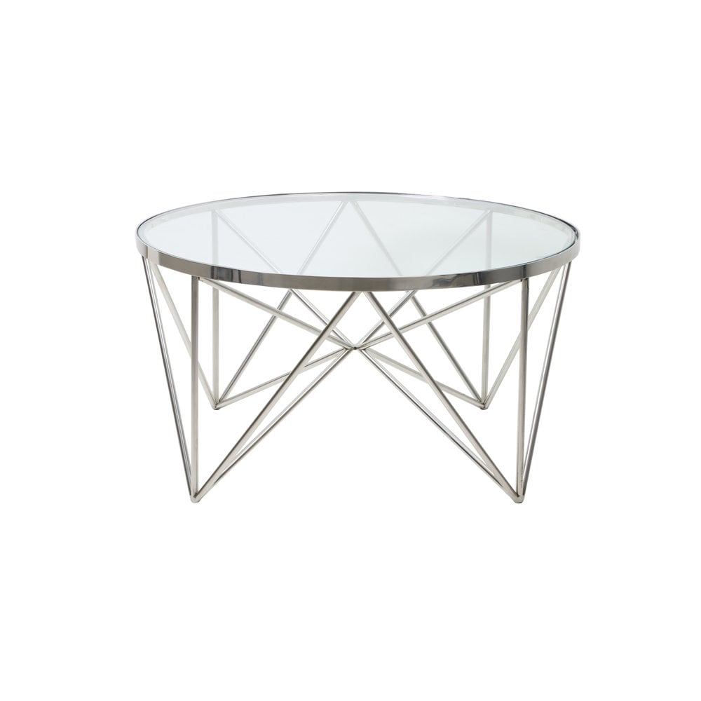 - Coffee Table Bogota Silver Metal Round Table In Nickel With Glass