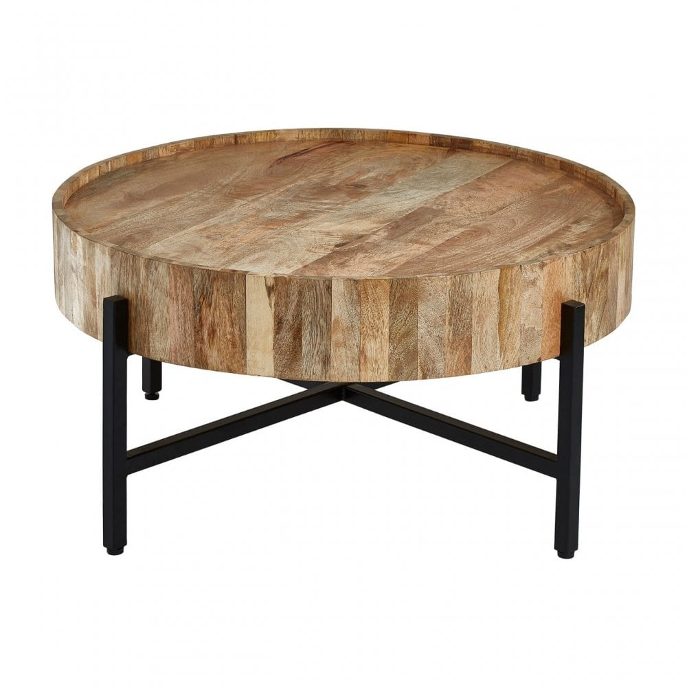 Crest Mango Wood Coffee Table Iron Wood Natural Clanbay Cb6571