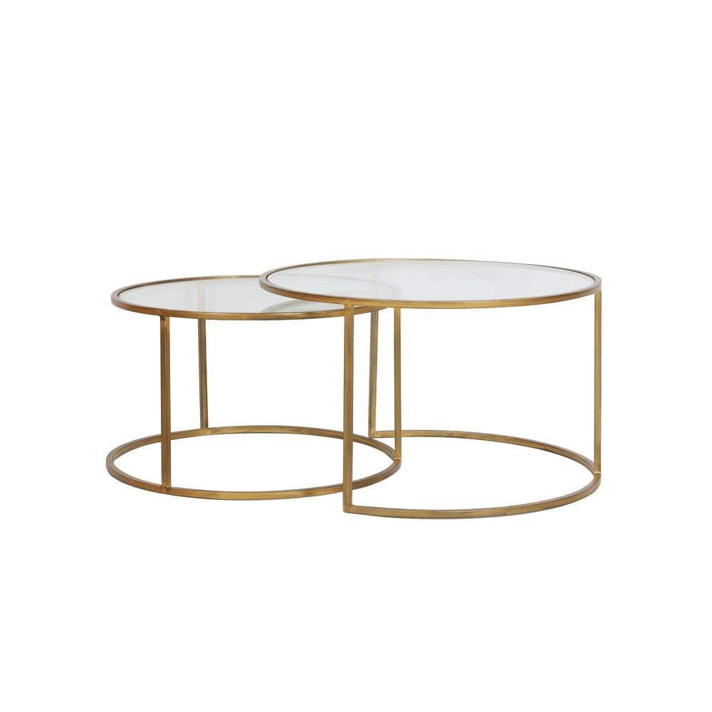 Clanbay Ll Designer Nested Gold And Glass Coffee Round Table Set