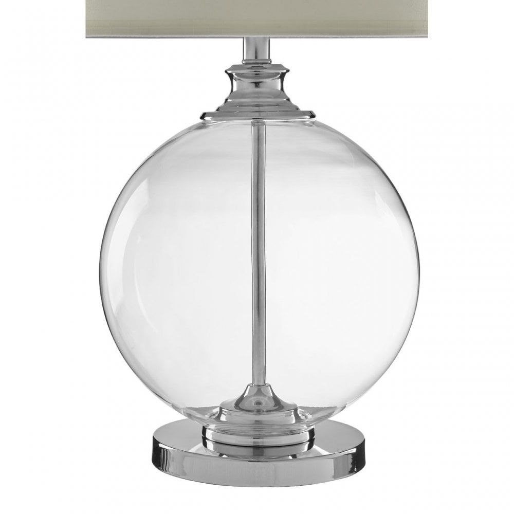 Silver Chrome Metal Table Lamp With