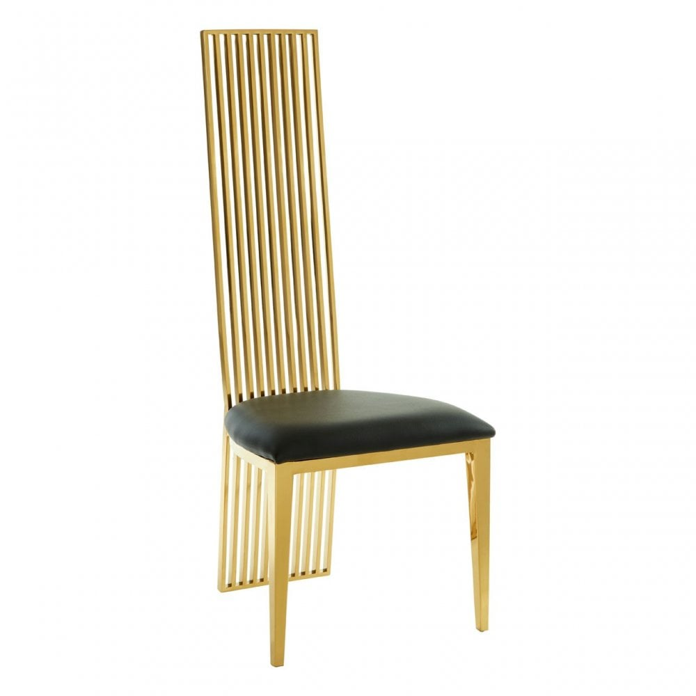 Clanbay Elisa Gold Finish Dining Chair, Foam, Stainless Steel, Gold