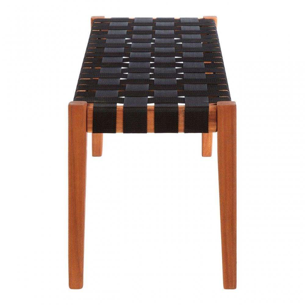 Stupendous Clanbay Emilio Woven Bench Acacia Wood Nylon Brown Creativecarmelina Interior Chair Design Creativecarmelinacom