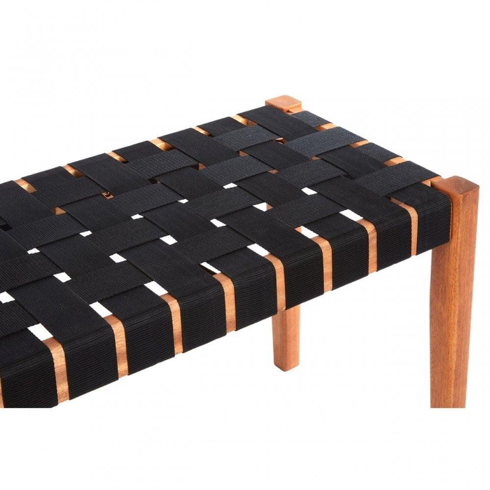 Excellent Clanbay Emilio Woven Bench Acacia Wood Nylon Brown Creativecarmelina Interior Chair Design Creativecarmelinacom