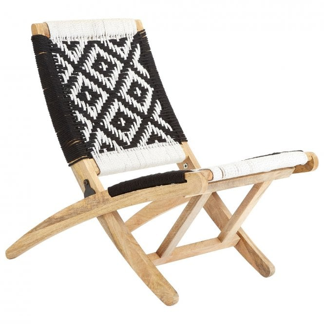 Magnificent Clanbay Fusion Black White Folding Chair Cotton Rope Mango Wood Natural Camellatalisay Diy Chair Ideas Camellatalisaycom