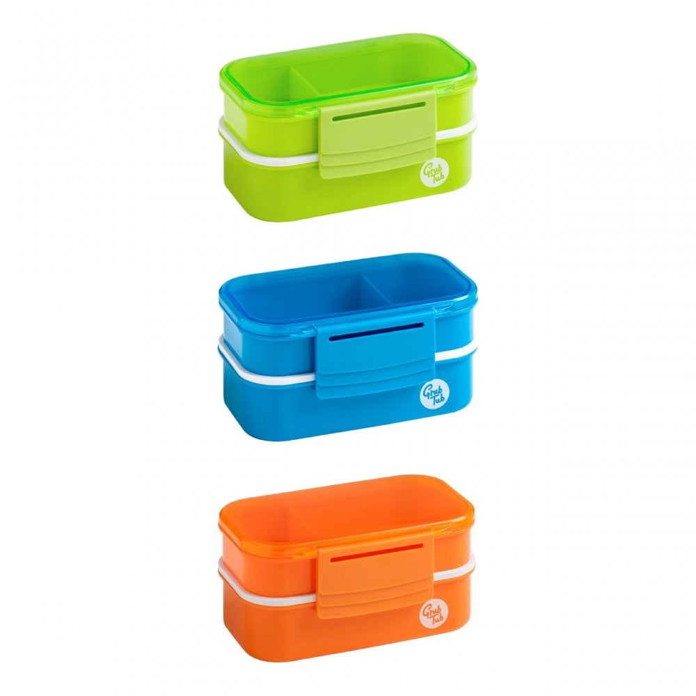 Grub Tub Light Blue Lunch Box Cutlery 2 Containers