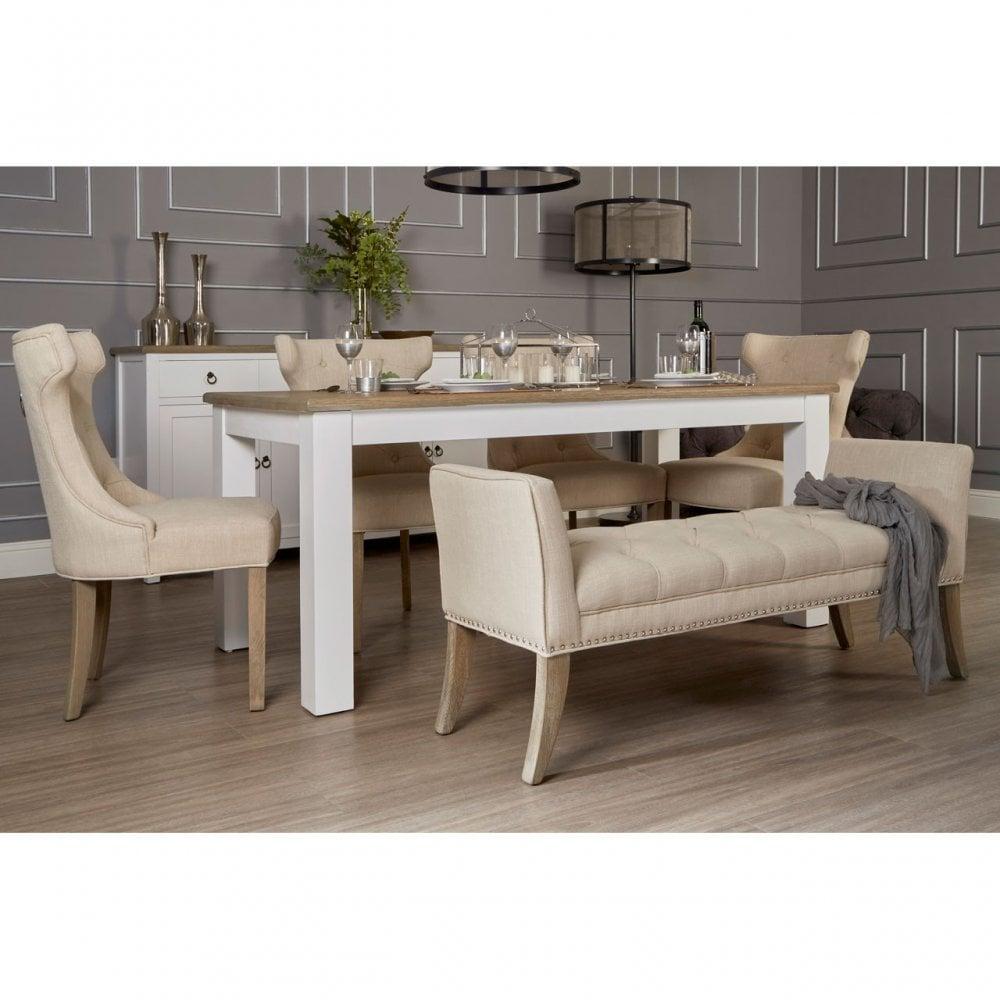 Clanbay Hampstead Oak Top White Dining Table Wood Birchwood