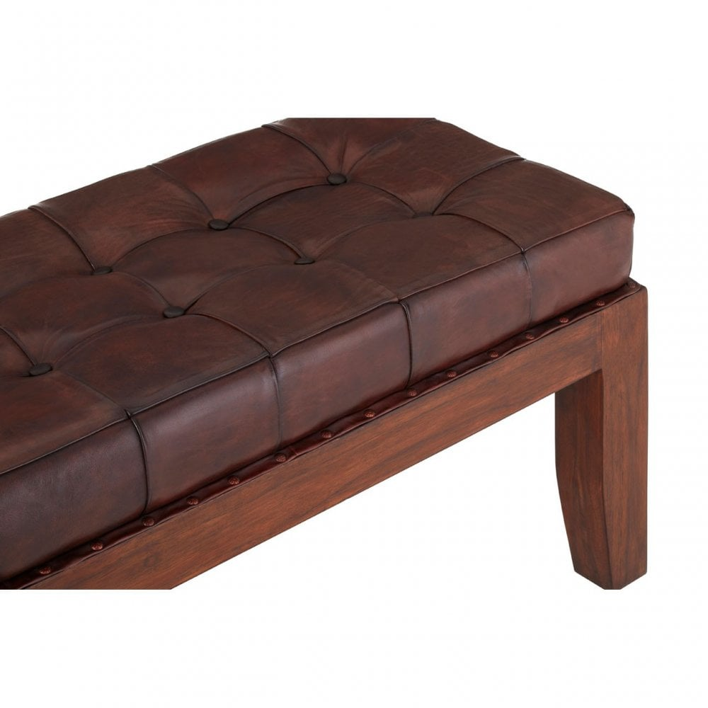 Sensational Clanbay Inca Antique Brown Leather Stitch Bench Leather Teak Brown Pdpeps Interior Chair Design Pdpepsorg