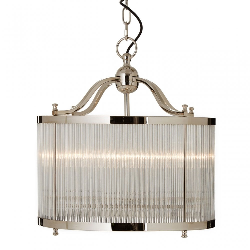 Kensington Townhouse Pendant Glass Iron Silver
