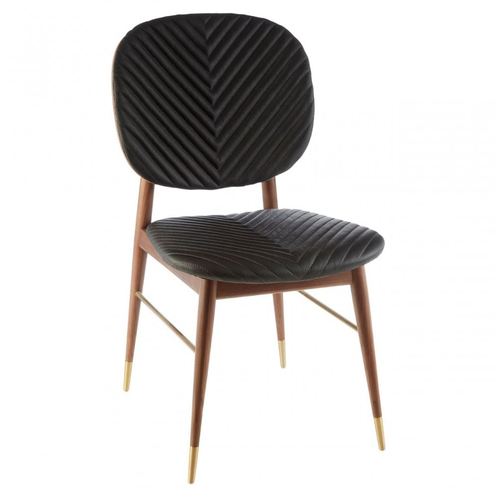 Awesome Clanbay Kenso Dining Chair Leather Walnut Wood Black Alphanode Cool Chair Designs And Ideas Alphanodeonline
