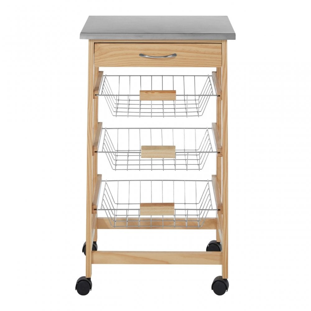 Clanbay Kitchen Trolley Pine Wood Stainless Steel Natural
