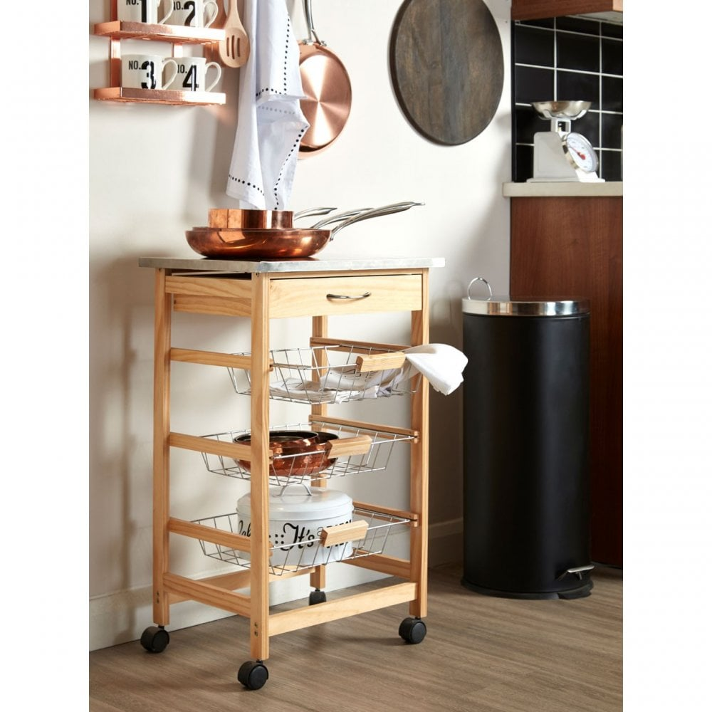 Kitchen Trolley Pine Wood Stainless