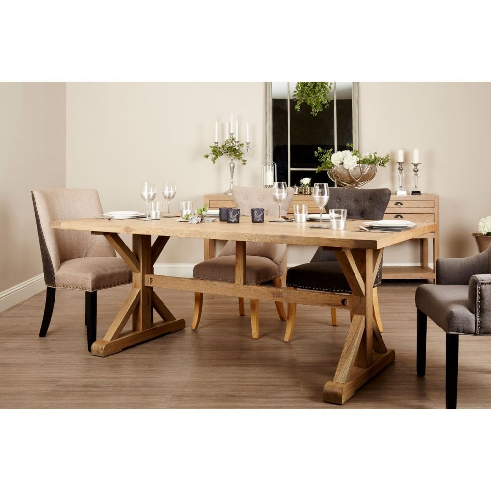 Clanbay Lyon Aged Grey Dining Table Oak Wood Brown