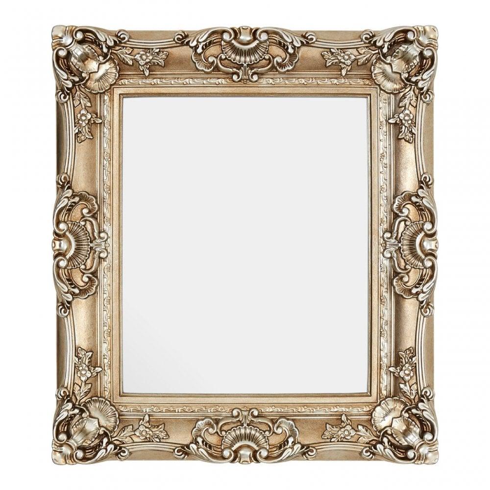 Lamon Marseille Champagne Finish Square Ornate Wall Mirror Mirrored Glass Gold Clanbay