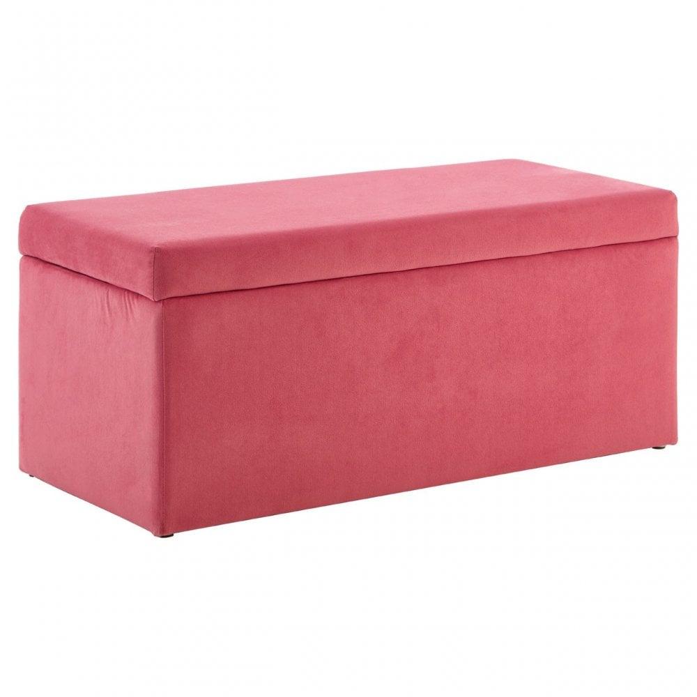 Awesome Clanbay Mia Kids Ottoman Pine Wood Rubberwood Pink Machost Co Dining Chair Design Ideas Machostcouk
