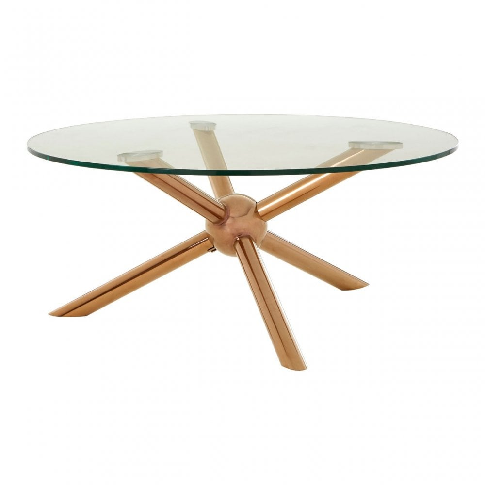 Novo Round Rose Gold Coffee Table Steel Tempered Glass Rose