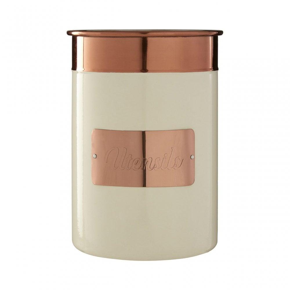 Prescott Cream Copper Utensil Holder Stainless Steel