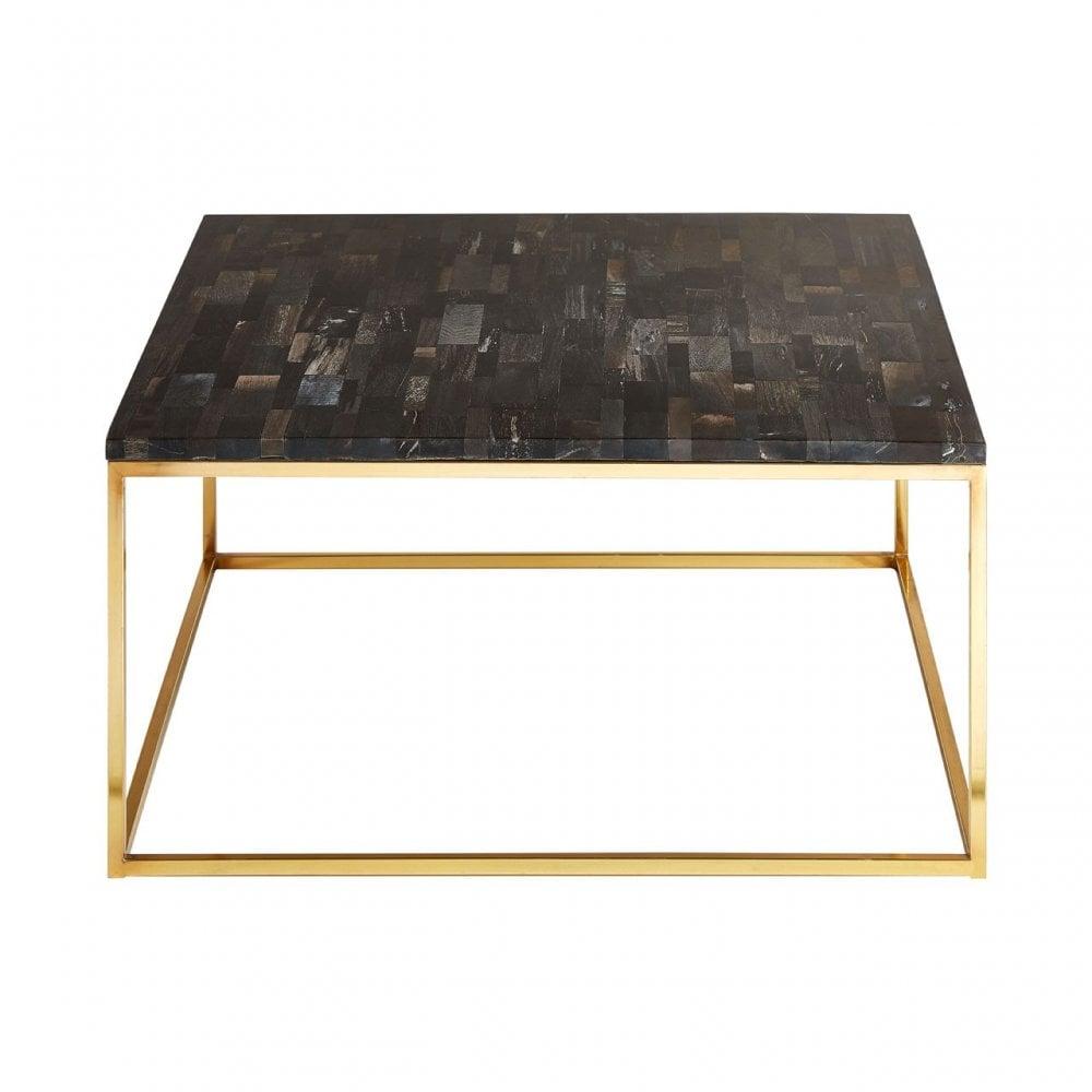 Pleasant Clanbay Relic Dark Petrified Wood Square Coffee Table Iron Petrified Wood Gold Machost Co Dining Chair Design Ideas Machostcouk