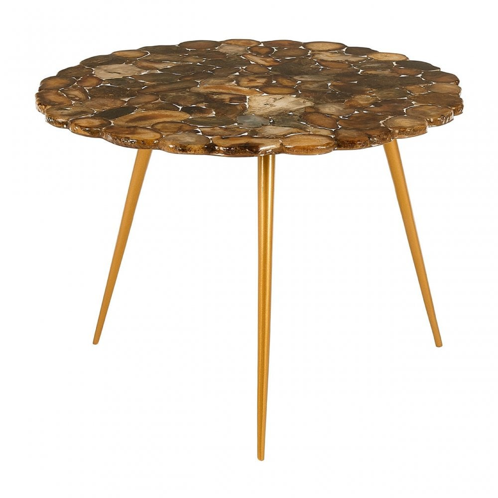 Relic Low Side Table With Agate Stone