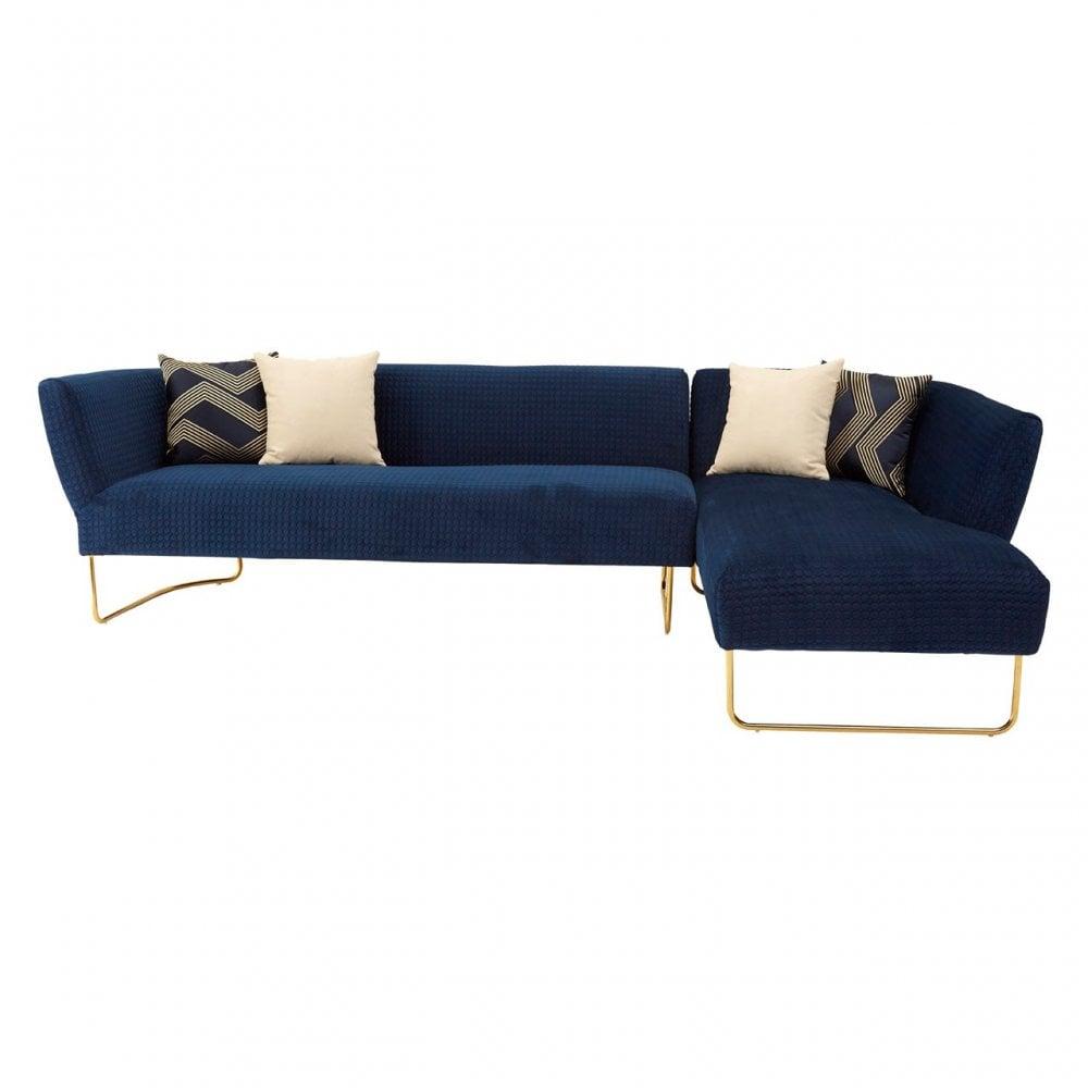 Clanbay Renee Dark Blue Velvet 5 Seat Corner Sofa, Wood, Pine Wood,  Plywood, Blue
