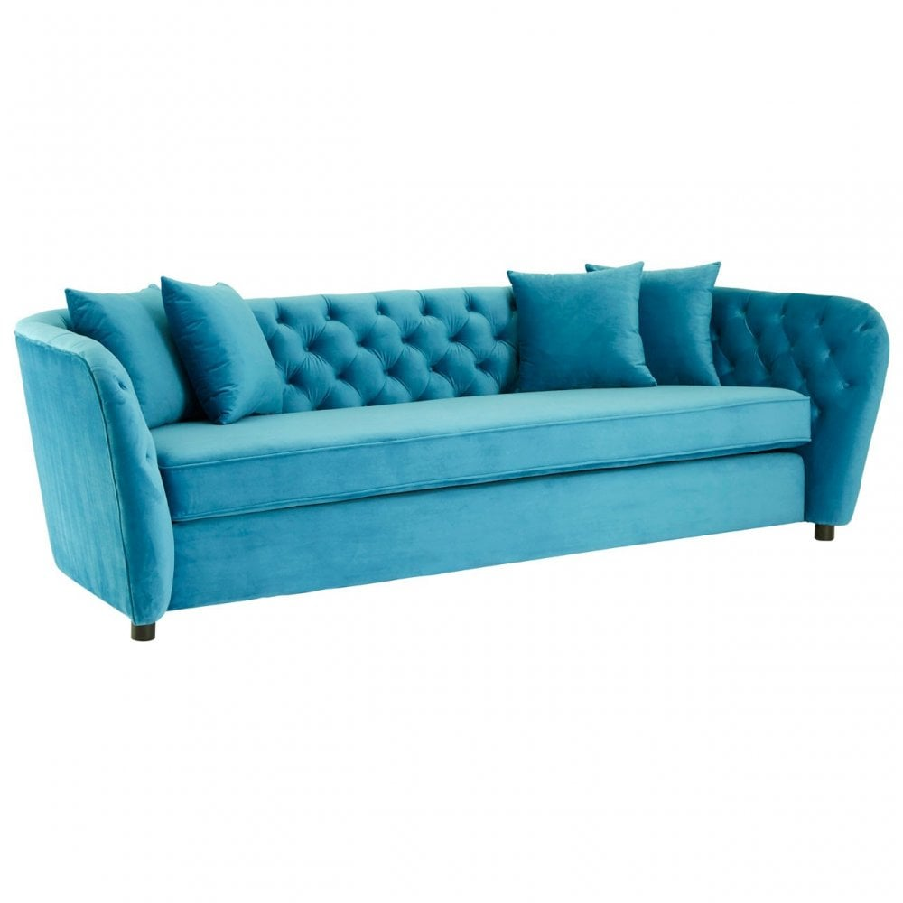 Clanbay Riva Cyan Velvet 3 Seat Sofa with Tufted Detail and Pine Wood legs
