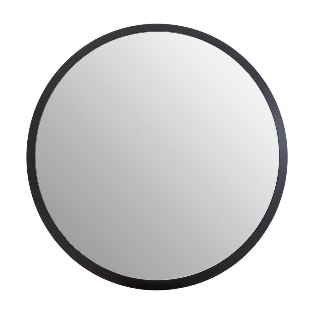 Clanbay Small Round Black Wall Mirror Wood Mirrored Glass Black