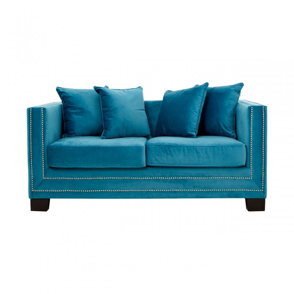 Clanbay Sofia 2 Seater Cyan Blue Velvet Sofa, Foam, Plywood, Wood, Blue