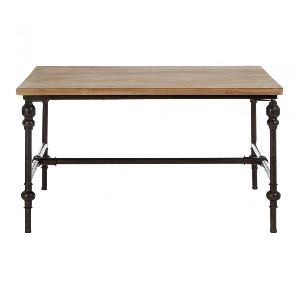 Tribeca Square Coffee Table Fir Wood Iron Natural Clanbay