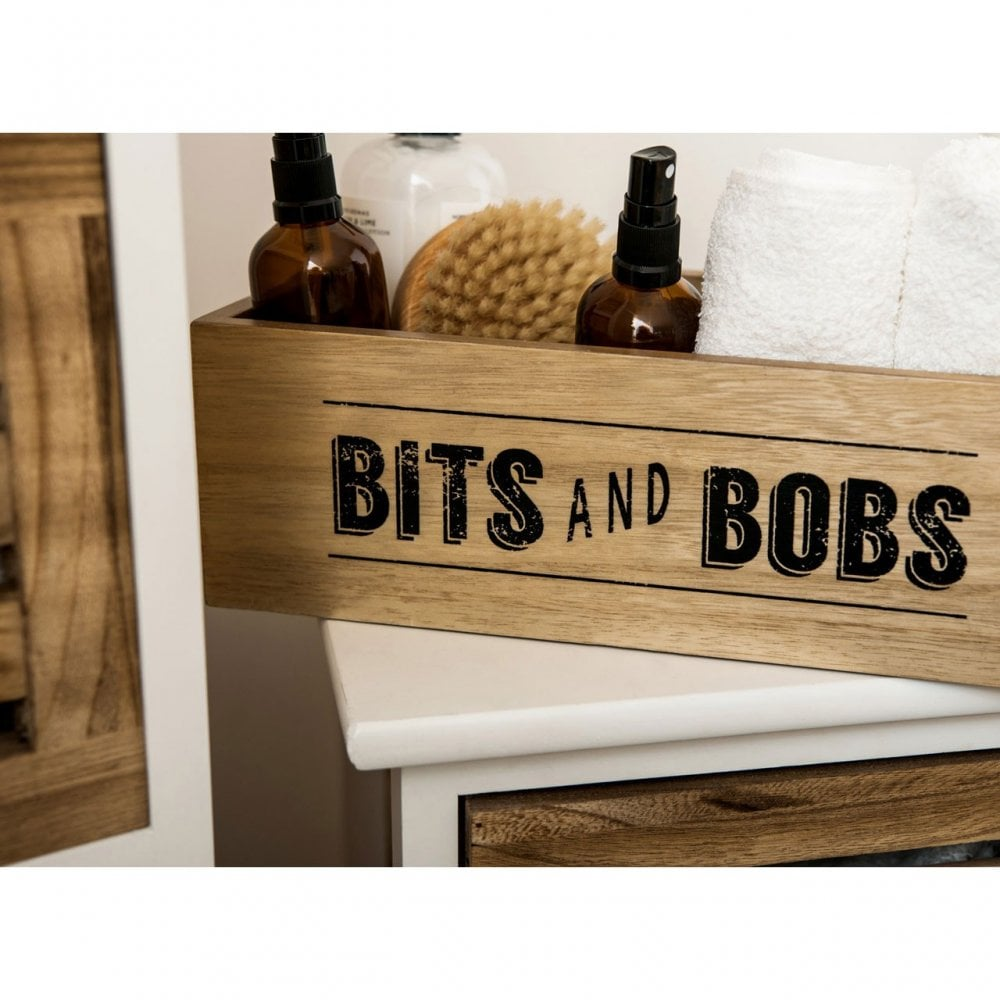 """Tribeca Storage Box Natural MDF With Handles /& Worded /""""Bits And Bobs/"""" Detail"""