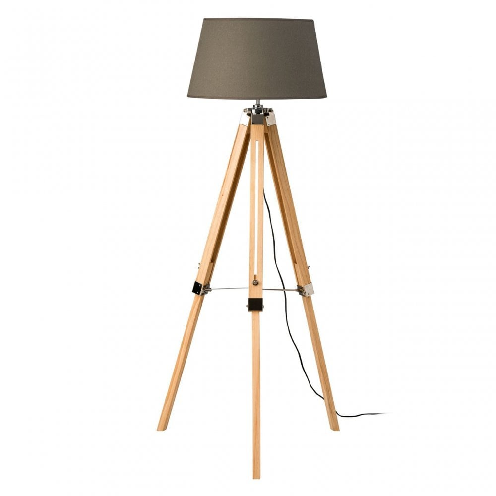 Grey Wood Tripod Floor Lamp With Pink