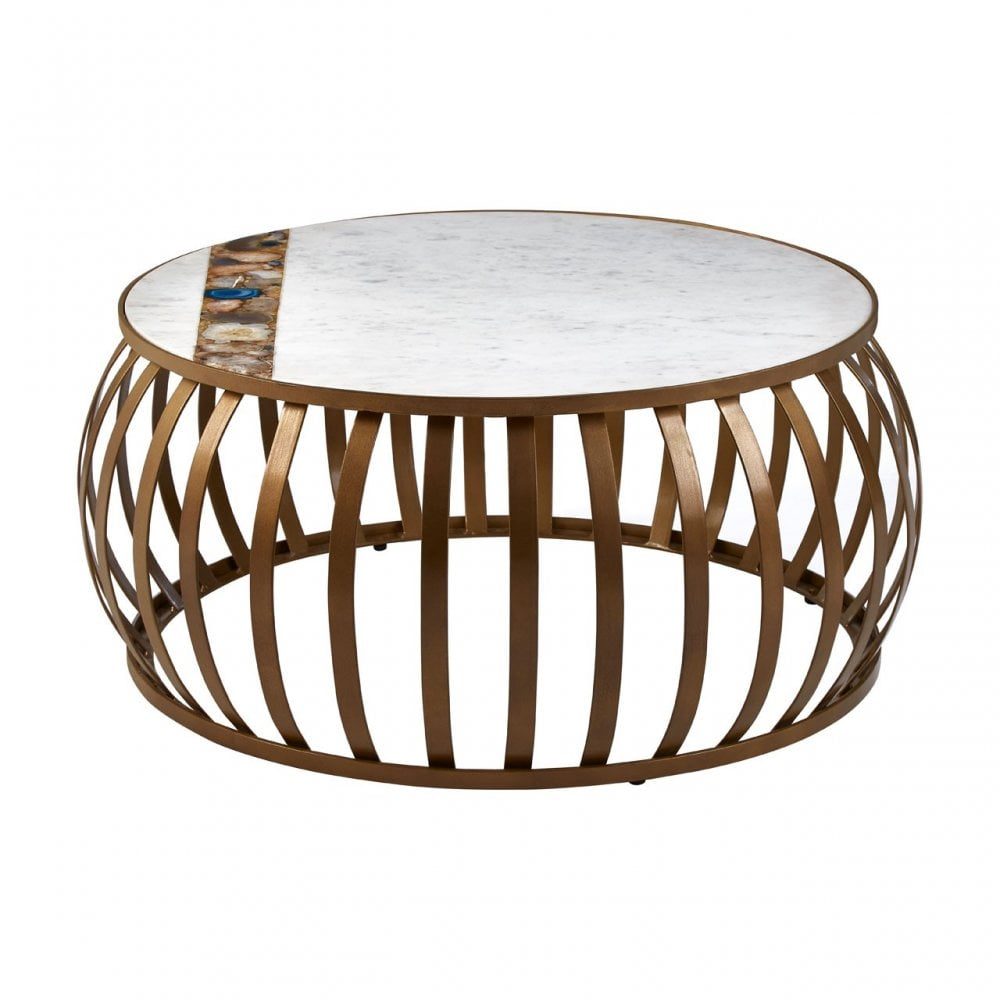 - Vizzini Round Coffee Table, Agate, Iron, Marble, Brass Clanbay