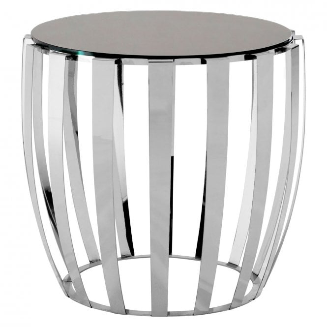 Yasmin Stainless Steel Side Table Stainless Steel Glass