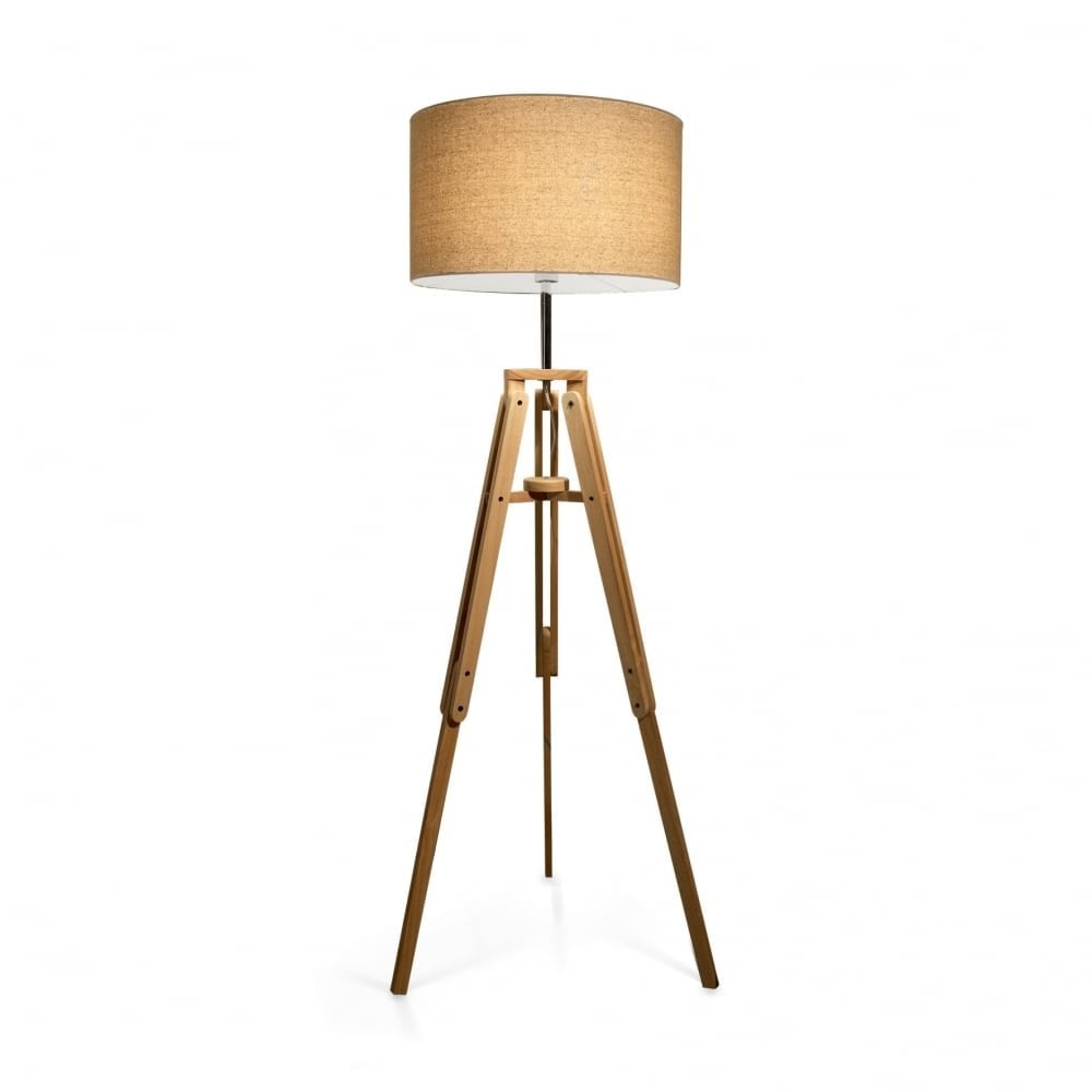 Clanbay Id Klimt Tripod Wooden Floor Lamp With Drum Shade